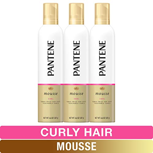 Pantene, Tame frizz for Soft Touchable Curls ProV For Curly Hair 6.6, Curl Mousse (Pack of 3), 19.8 Ounce