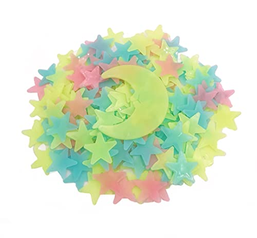200 Pcs Colorful Glow in The Dark Luminous Stars and Moon Fluorescent Noctilucent Plastic Wall...