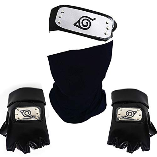HNXSY Leaf Village Logo Metallbeschichtetes Stirnband / Stirnschutz und Gesichtsmaske für Cosplay-Accessoires Schwarze Kakashi Veil Konoha-Handschuhe (Stirnschutz + Maske + Handschuhe)