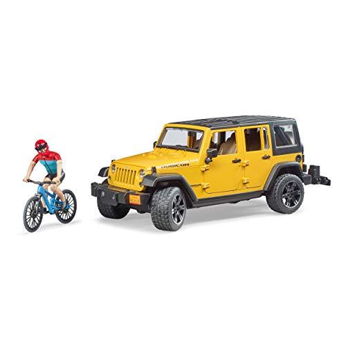 Bruder Freizeit Jeep Wrangler Rubicon Unlimited, mit Mountainbike, Modellfahrzeug, Modell Fahrzeug, Spielzeug, 02543