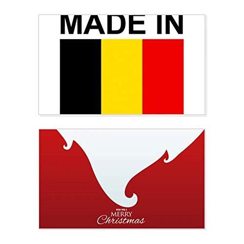 Gemaakt in België Land Liefde Vakantie Vrolijk Kerstmis Kaart Kerstmis Vintage Boodschap