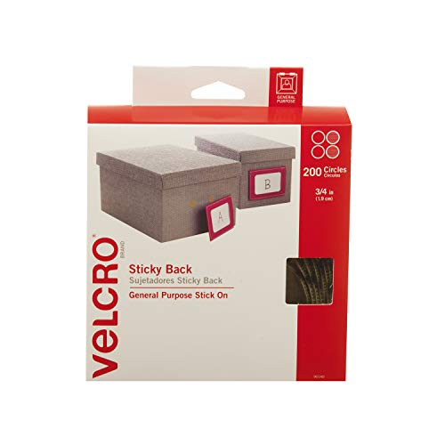 VELCRO Brand - Sticky Back Hook and Loop Fasteners | Perfect for Home or Office | 3/4in Coins | Pack of 200 | Beige