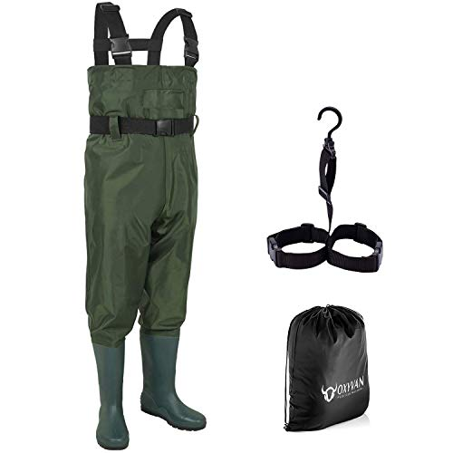 OXYVAN Chest Fishing Waders for Kids Waterproof Lightweight Youth Waders with Boots Nylon/PVC Toddler Waders with Boot Hanger for Fishing & Hunting