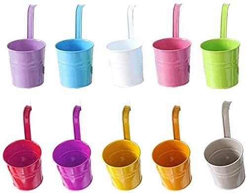 Lot de 10 Pots de Fleurs Métal à Suspendre, Pot Fleur Coloré Extérieur, Support Pot de Fleur Balcon, Crochet Movible en Métal avec Trou de Drainage, pour Une Clôture ou Un Jardiniere Balcon