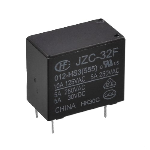IIVVERR Black Rectangle Case 4 Pins 12V DC SPST NO Relay JZC-32F 012-HS3 (Caja del rectángulo negro 4 pines 12V DC SPST NO Relay JZC-32F 012-HS3