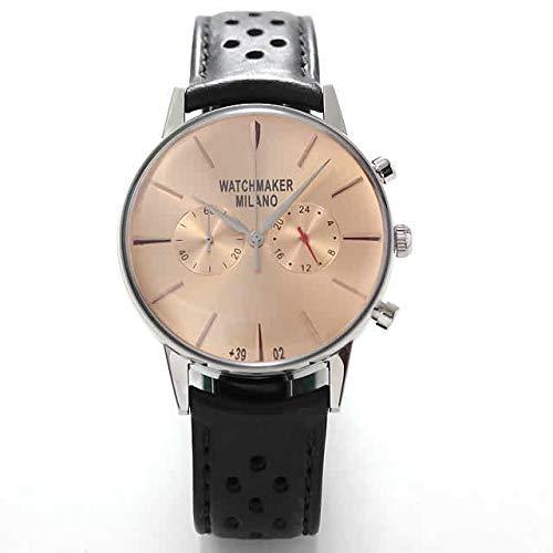 Watchmaker Milano Orologio da Polso Uomo Vintage in Acciaio con Cronografo e Cinturino da Pilota in Pelle Retro (Quadrante Rose)