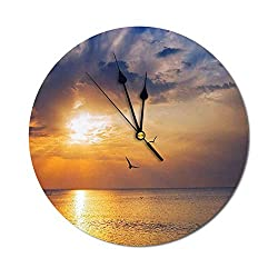 Clock Early Morning Sunrise Over The Ocean and a Bird Horizon Nature Panoramic View Round Silent Non Ticking Wall Clock for Home Office School Decor Blue and Orange - 9.84 Inch