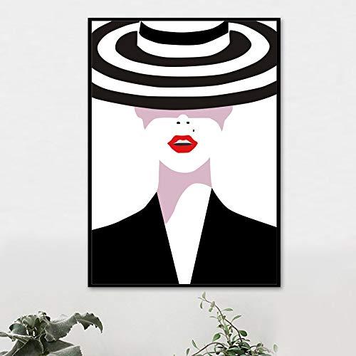 mmwin Blanco y Negro Vogue Girl Hat Labios Arte de la Pared Pintura de la Lona Carteles e Impresiones nórdicos Cuadros de la Pared para la Sala de Estar Decoración de la Pared w 60x100cm
