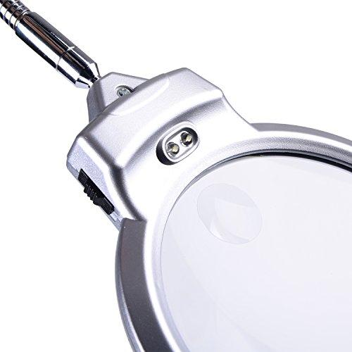 XYK Leselupe, 14 cm Durchmesser, faltbares Design mit 2LED-Lampen, Stromversorgung durch 3x AAA Batterien; inkl. Zusatzlinse mit 5-facher Vergrößerung und 2,5 cm Durchmesser - 4