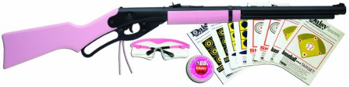 Daisy 994998-403 Outdoor Products Youth Lever Action Air Rifle, 177cal BB, PinkWood Stock with Fun Kit, 35.4 Inch, Pink Black