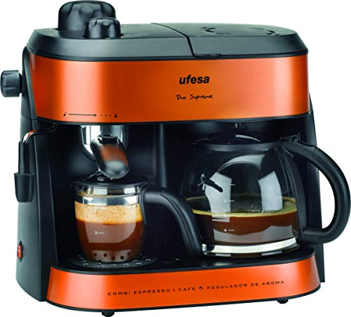 UFESA CK7355 CK7355-Duo Supreme Expresso, und Filterkaffee Kaffeemaschine, Verstellbarer Verdampfer, Aromaregulator,1800w, 2 in 1, Glas, 1.5 liters, orange