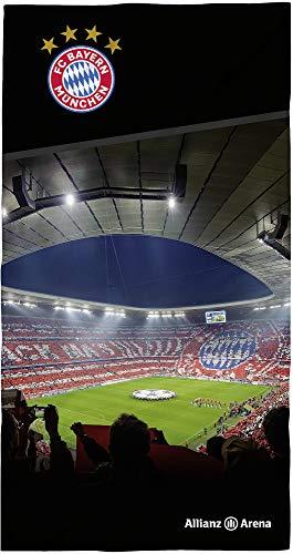 FC Bayern München Badetuch Allianz Arena 75 x 150cm Fußball FCB Deutscher Rekord-Meister Mia san Mia Champions League Bundesliga Strandlaken Strandtuch Handtuch Badelaken Tuch Pass. zur Bettwäsche