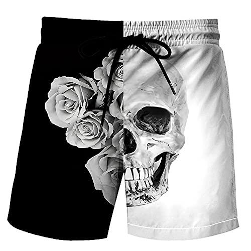 MLX-BUMU Skull Traje De Baño para Hombre, Traje De Baño Estampado De Moda De Talla Grande, Bañador De Alta Elasticidad para Hombre,XXXL