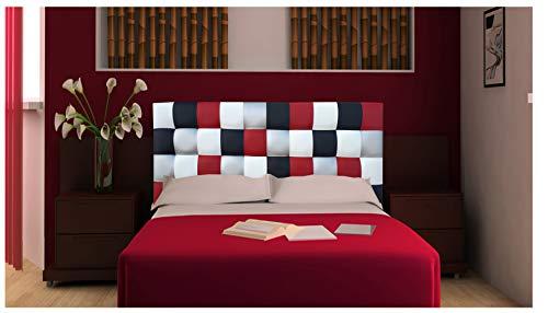 ONEK-DECCO Cabecero de Cama Polipiel de Dormitorio Mod. Kansas Patchwork 2, Acolchado de Espuma Varias Medidas, Cama de niño, Juvenil y Matrimonio (135X70)