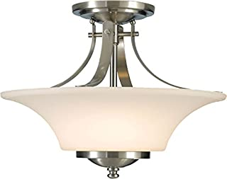 Feiss SF241BS Barrington Glass Semi Flush Ceiling Lighting, Satin Nickel, 2-Light (15