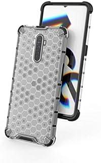 غطاء خلفي مقاوم للصدمات لـ Realme X2 Pro / Reno Ace ظهر شفاف ابيض وحواف سوداء