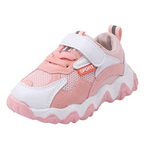 95sCloud Unisex Kinder Sneaker Turnschuhe Wander Outdoor Sportschuhe Kinder Jungen und Mädchen Hit Farbe Buchstaben Netto Tuch Schuhe Turnschuhe Freizeitschuhe Babyschuhe Shoes (Pink, 28)