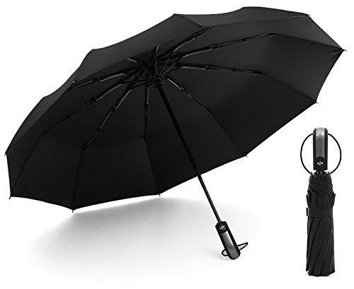 JIUJ Taschenschirm automatischer Regenschirm schwarz Kunststoffgeschäft Sonnenschirm 23 inch * 12k Schwarz