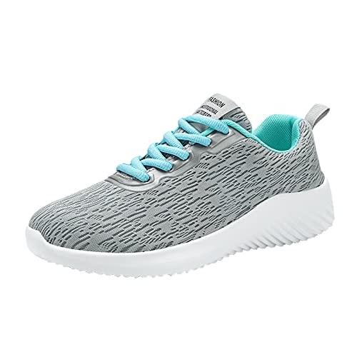 Fomino Vrijetijdsschoenen dames lichte sportschoenen casual sneakers loopschoenen ademend flying geweven gymschoenen zachte platte schoenen wandelschoenen zomerschoenen, blauw, 37 EU