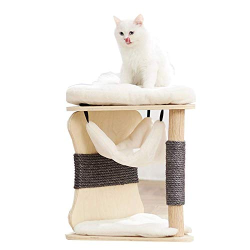 Cat climbing tower Cat Climbing Frame Scratching Post With Hammock Comfortable Cat Activity Centre Four Seasons Universal Cat Toy cat toys cat tower cat trees (Color : White)