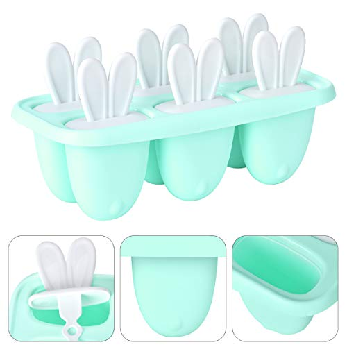 Queta Stampi per gelati, riutilizzabili, in silicone, 6 produttori di ghiaccioli, stampi fatti in casa senza BPA, per gelati, per neonati e adulti (blu)