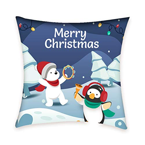 ZHYLIN Kussensloop Kussensloop Woonkamer Bank Kerstmis print Decoratie Kussen Taille Pad Slaapkamer Auto Decoratie Kussensloop 45x45 Inch
