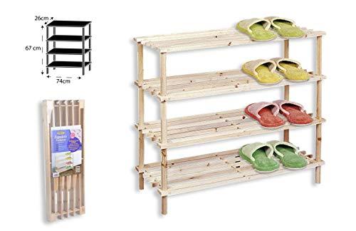 TIENDA EURASIA® Zapatero de Madera Natural. Estantería Disponible en 3 tamaños. Diseño Sencillo y Compacto. Ideal para Cualquier rincón de tu hogar. (Natural, 4 Alturas)