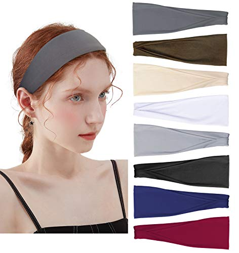 8 Pack Workout Headbands for Women Yoga Exercise Fashion Headbands Non-Slip Sweat Wicking Hair Bands Running Sports Hair Accessories