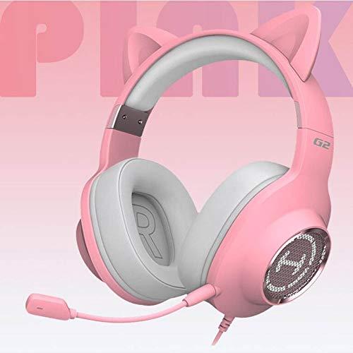 HUOQILIN Gaming Headset Auricular Auriculares For Juegos De Escuchar A Las Protestas De Su Escritorio bits Portátil USB con Cable De Auriculares con Trigo (Color : Pink, Size : B)