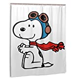 Snoopy-Illustration Bathroom Shower Curtain Waterproof Bath Partition Curtains