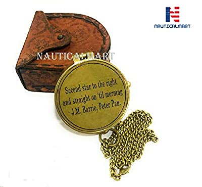 NauticalMart Second Star to The Right J. M. Barrie, Peter Pan Engraved Brass Compass Directional Compass Magnetic Pocket Personalized Gift for Camping, Hiking and Touring