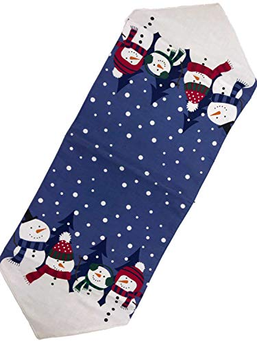 Celebrate the season Blue Snowman Family Table Runner 13x36