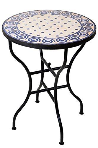 ORIGINAL Marokkanischer Mosaiktisch Bistrotisch ø 60cm Groß rund klappbar | Runder Kleiner Mosaik Gartentisch Mediterran | als Klapptisch für Balkon oder Garten | Spirale Natur Blau 60cm