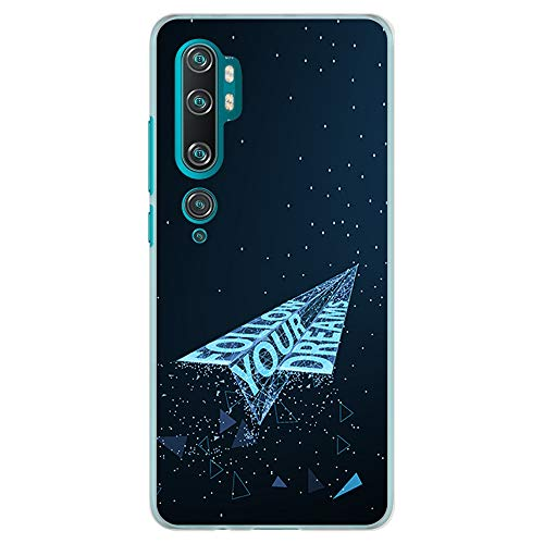 BJJ SHOP Funda Transparente para [ Xiaomi Mi Note 10 / Xiaomi Mi Note 10 Pro ], Carcasa de Silicona Flexible TPU, diseño : Avion de Papel futuristico Follow Your Dreams