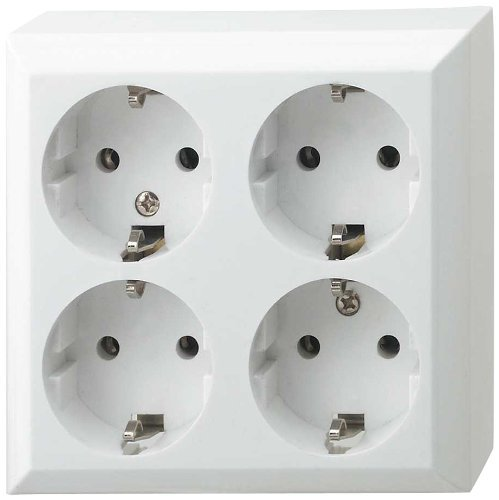 Aufputzsteckdose weiß ohne Zuleitung 4fach – 4er Set Mehrfachsteckdose als AP Steckdose zur Wandbefestigung – statt einer Steckdose stehen 4 Einzel Steckdosen bei Bedarf zur Verfügung