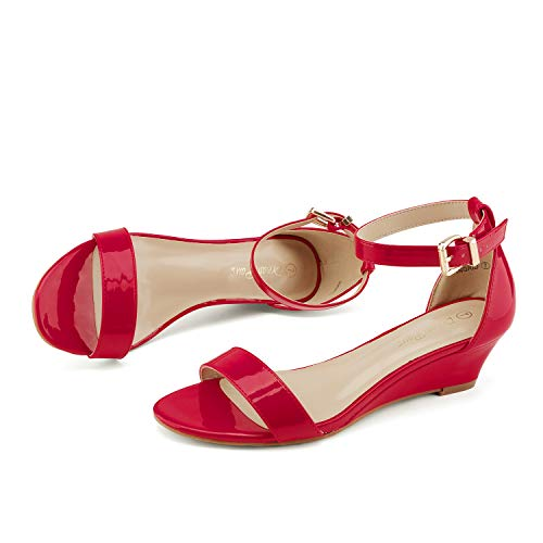 DREAM PAIRS Women's Ingrid Red Pat Ankle Strap Low Wedge Sandals Size 8.5 M US