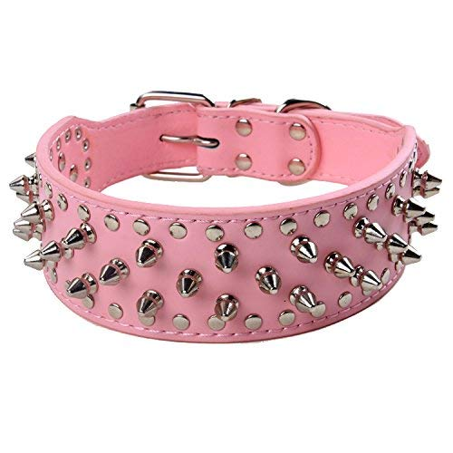 BONAWEN Dog Collar Leather Studded Collar with Spikes for Large Medium Dogs,2' Width(Pink,XS)