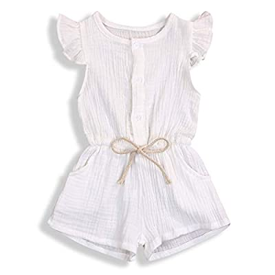 YOUNGER TREE Toddler Baby Girls Linen Outfits Summer Short Flying Sleeve Solid Color Jumpsuit (White, 3-4T)