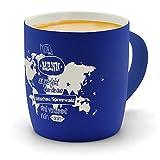 printplanet - Kaffeebecher mit Ort/Stadt Vetschau/Spreewald graviert - SoftTouch Tasse mit Gravur Design Keine Mann ist Ideal, Aber. - Matt-gummierte Oberfläche - Farbe Blau