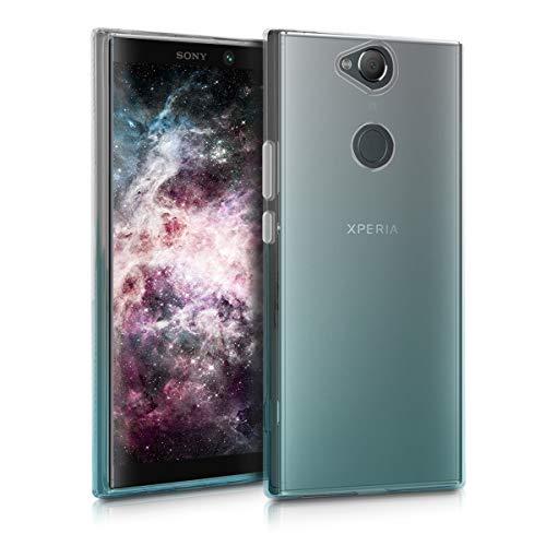 kwmobile Sony Xperia XA2 Plus Hülle - Handyhülle für Sony Xperia XA2 Plus - Handy Case in Zwei Farben Design Transparent Türkis Transparent