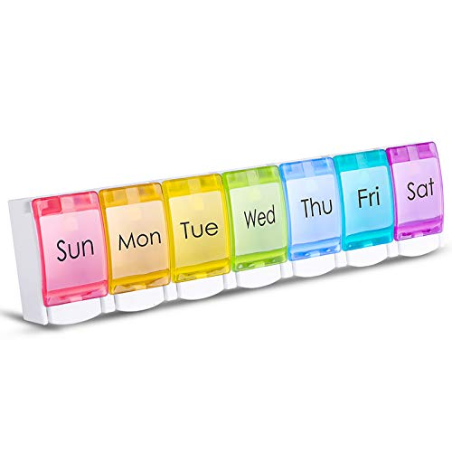 Pill Box Organiser 7 Day, Opret Pop-Open Pill Dispenser Weekly with 7 Large Compartments BPA Free for Vitamins Fish Oils Supplements Medication