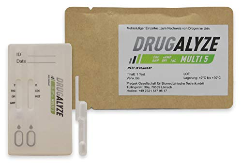 DRUGALYZE Drogentest Multi 5 - Made in Germany - Cannabis - Opiate - Amphetamine - Kokain - Methamphetamin - Drogen Schnelltest - 97{2115625ba861baeb18b0c0a2597efec12565a19f1a58bbe3bb7847de19771f2b} weniger Kunststoff