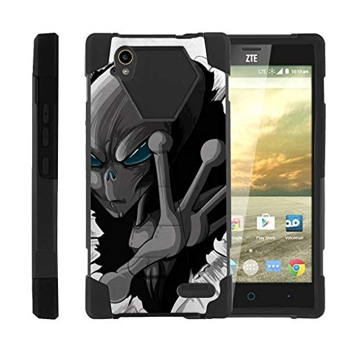 TurtleArmor | Compatible with ZTE Warp Elite Case | N9518 [Dynamic Shell] Hard Shell Soft Silicone Case Hybrid Absorber Kickstand Alien and UFO Artwork - Gray Alien