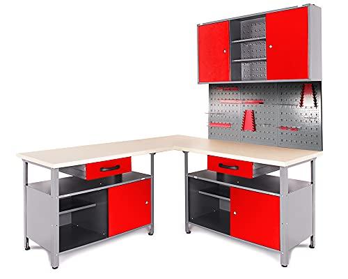 Ondis24 Werkstatt Set Ecklösung Classic One, Werkbank, 180cm Melaminarbeitsplatte, Werkzeugschrank,...