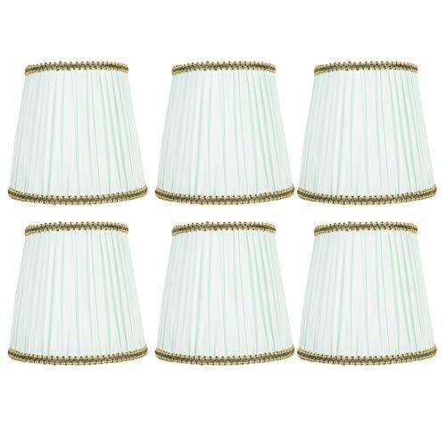 Pantalla, 6 piezas Pantalla de tela Araña Lámpara de pared Pantalla de cubierta para bombilla E14 Verde claro