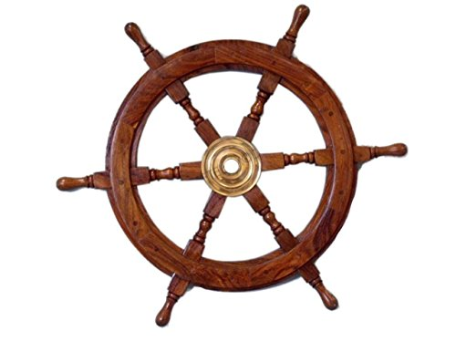 Rudder, brass, with boat motif wheels Design, 76.20 cm