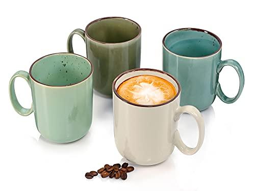Sänger Kaffeebecher Napoli 4-teiligesBecher-Set für 4 Personen aus Steingut,Tassen Füllmenge: 450 ml, erweiterbar, mehrfarbig, Alltag, besonderes Dinner, Frühstück, Outdoor