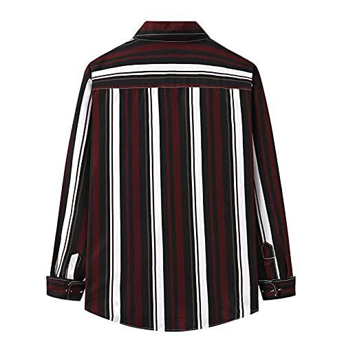 D-Rings Camisa de franela de manga larga para hombre, de forro polar, con botones, para el tiempo libre,...