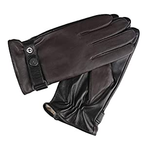 GSG Men Geniune Leather Gloves Driving Motorcycle Winter Touchscreen Warm Gloves with Wool Fleece&Fur Liner