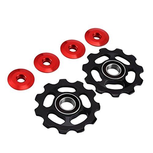VORCOOL 2 pieces gear wheels, bicycle rear derailleur pulley, 11T aluminium for Shimano (black).